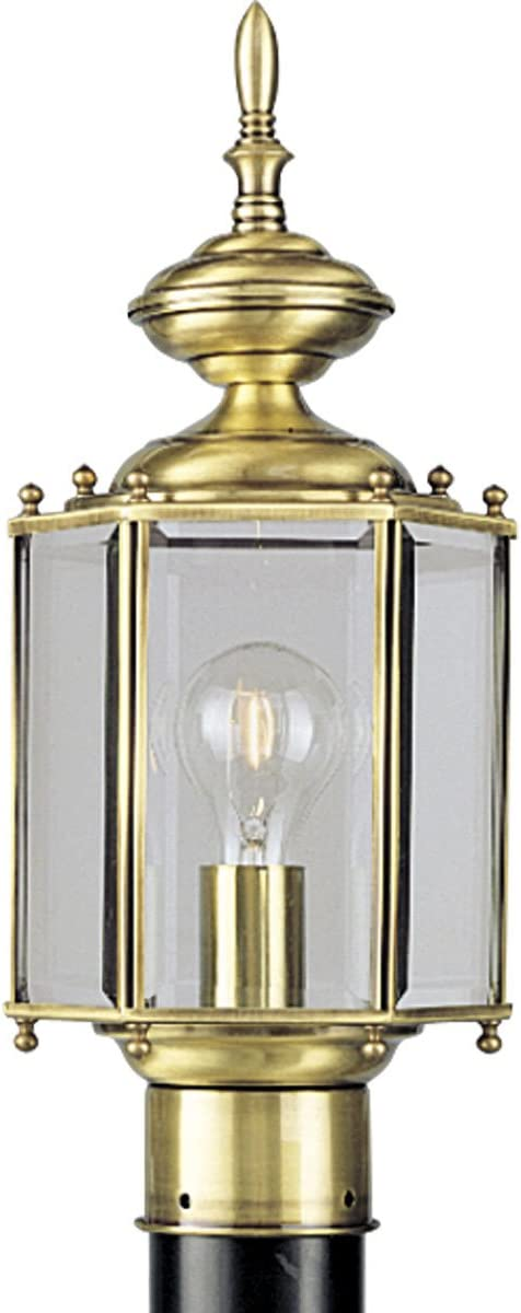 Progress Lighting P5430-10 Traditional One Light Post Lantern from BrassGUARD Collection Cast Finish, 7-Inch Diameter x 17-Inch Height, Polished Brass