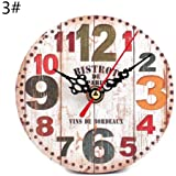 Moda Orologio da parete rotondo imitazione legno piccola sveglia orologio da camera da letto studio ufficio orologio faccia singola