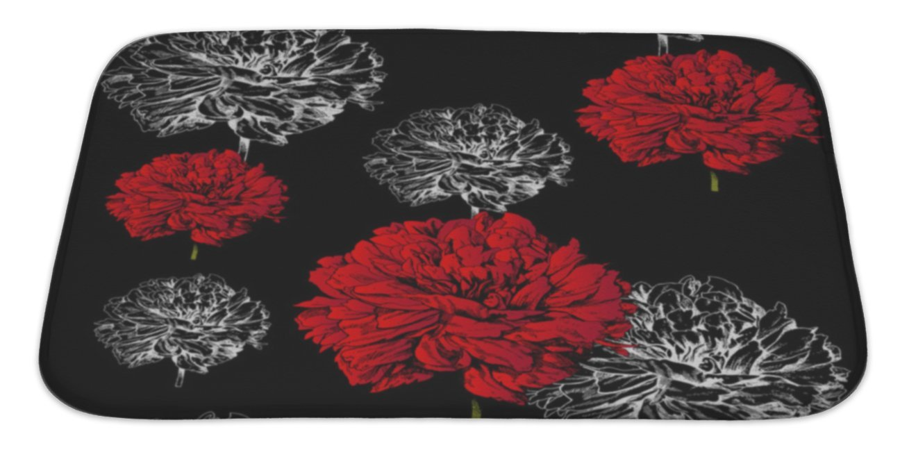 "Gear New Floral , Fashion Black Pattern, Bath Mat, Microfiber, Foam With Non Skid Backing, 34""x21"", GN10227"