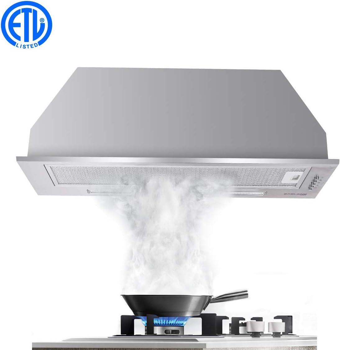 Campana GASLAND Chef BI30SP de 30 pulgadas, campana de cocina integrada de acero inoxidable, 3 velocidades, 450 cfm, botón de control de empuje, ventilador de escape, luces LED, filtro de malla de