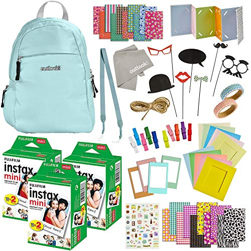100 Piece Instax Mini 9 Camera Accessories – Travel Kit Bundle – Backpack Shoulder Bag, 60 Sheets Instant Film, Lens Cleaning Cloth, Strap, Washi Tape, Stickers, Photo Frames, Album – Ice Blue
