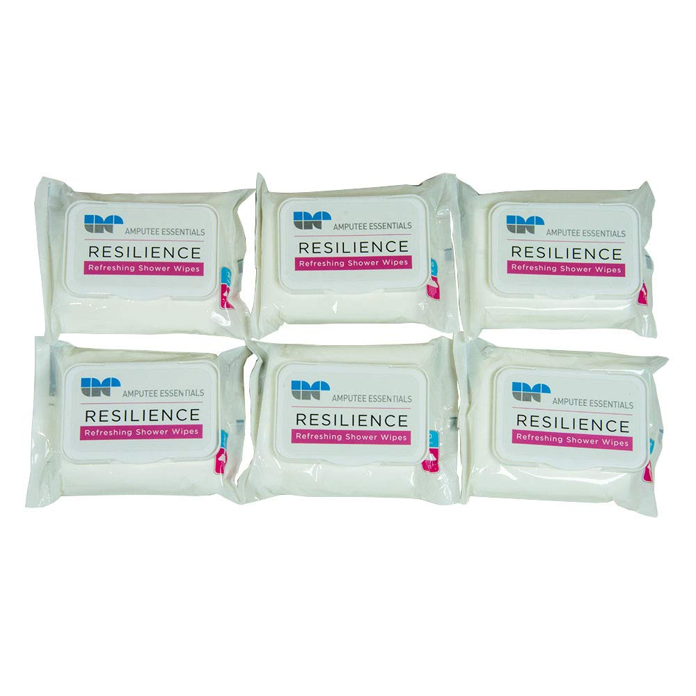 Amputee Essentials Resilience Shower Wipes, Hypoallergenic, Tea Tree Oil, Vitamin E & Aloe, 6 Pack, 30ct by AE AMPUTEE ESSENTIALS