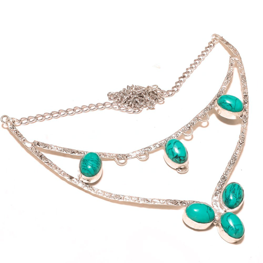 Blue Tibetian Turquoise Sterling Silver Overlay Necklace 17-18 Handmade Jewelry Latest Design