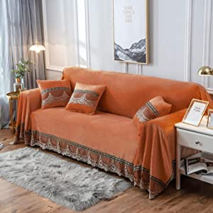 QYN Crystal Velvet Thicken Sofa Slipcover with Lace,not-Slip Solid Color Couch Cover Durable Sofa Cover Furniture Protector-Orange 200x380cm(79x150inch)