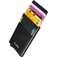 Porta Carte Credito G.effe, Per Uomo, Donna, Porta Carte di Credito RFID Schermato, Portafoglio, Tessuto e Alluminio, Nero, Sottile, Porta Monete