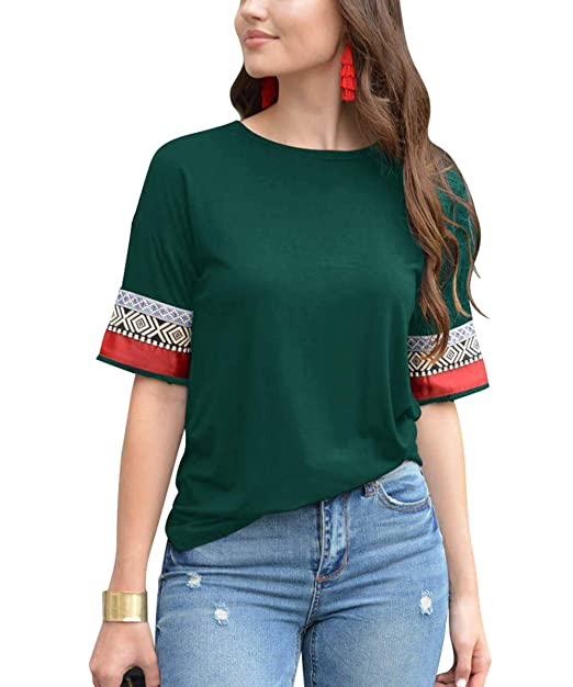 372c42ffb3f1 Image Unavailable. Image not available for. Color  GADEWAKE Womens Casual  Printed Pattern Color Block Short Sleeve Round Neck T Shirts ...