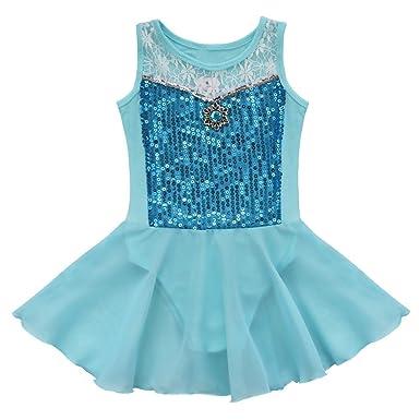iEFiEL Vestido de Danza Maillot Ballet Princesa Tutú para Niña con Encaje Floral sin Mangas Algodón
