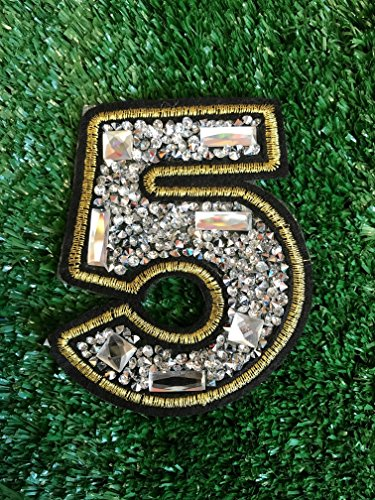 Look Cool&Chic Lucky Number Five 5 Digit Fabric Crystal Iron Sew On Adhesive Embroidered Patches Appliques Badge for Cap Jacket Jeans Scrapbook Decoration by Indy Patch by Indy Patch