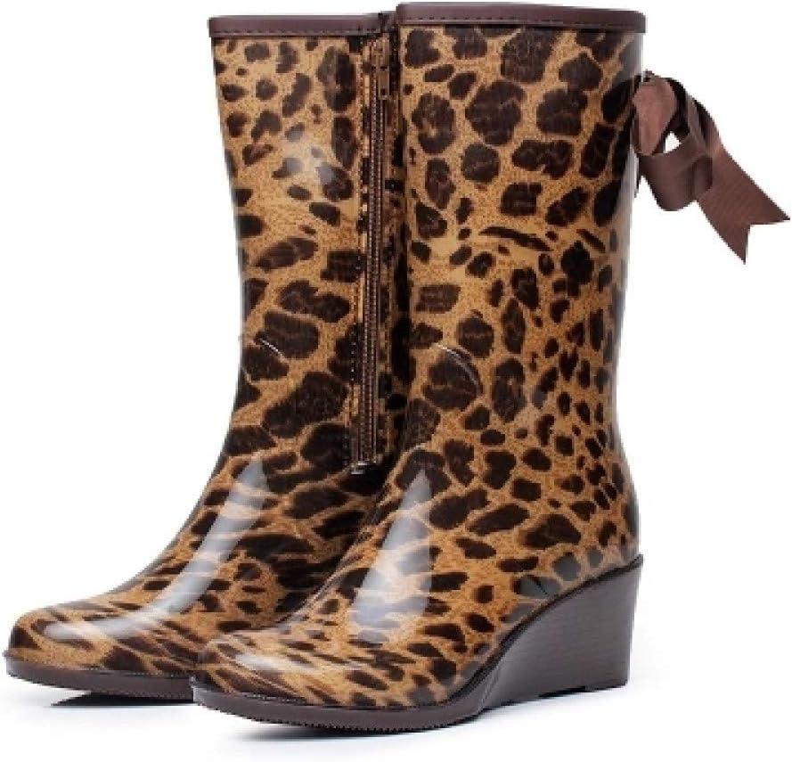 FEELHH Stivali da Pioggia Caldi,Leggero E Comodo sul Tubo di Alta Moda Impermeabile Ladies Impostare I Piedi con Leopard Prua A Cuneo 4