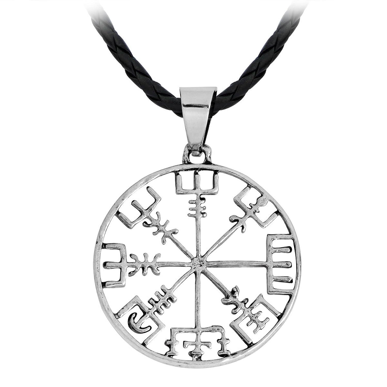 QIHOO Vegvisir Elder Futhark necklace Rune Charm Talisman Viking Norse Pewter Pendant