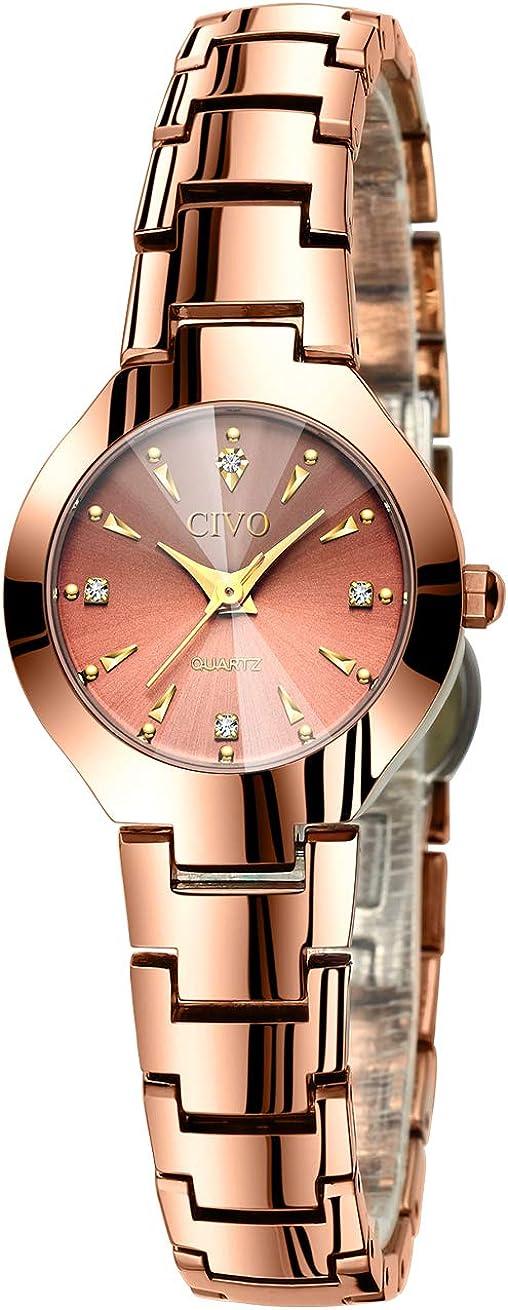 Reloj Mujer Relojes de Pulsera Analogico Minimalistas Oro Rosa Acero Inoxidable Impermeable Reloj para Mujeres Moda Fecha Calendario Casual Negocios Vestid Cuarzo
