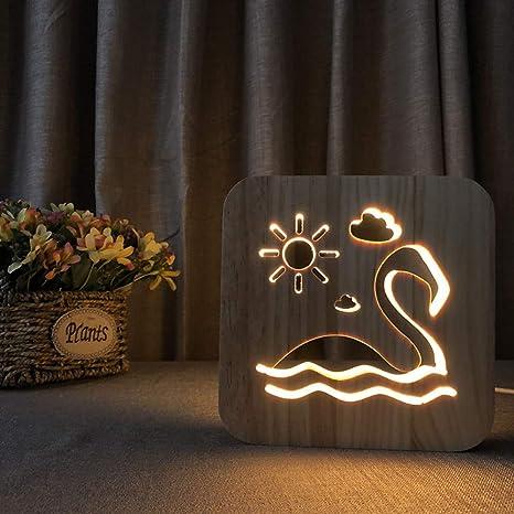 CFLEGEND 3D Night Lights Lámpara De Mesa Luces Usb Grabado Hollow ...
