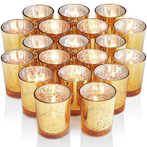 Volens Gold Votive Candle Holders, Mercury Glass Tealight Candle Holder Set of 72 ()