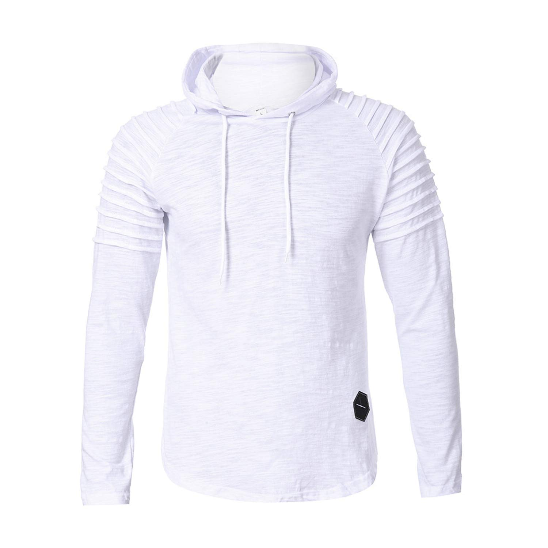 Sweatshirts Men Fashion Pullover Mens Hoodies Pleats Slim Fit Raglan Long Sleeve Hoodie Top Blouse Moletom
