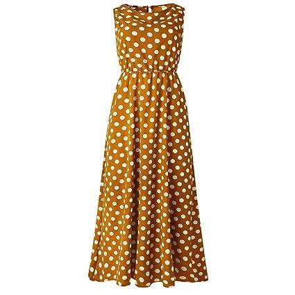 IZZB Mode Damen Sommer Partykleid Punktdruck Ärmellos O Hals Lange Freizeitkleid Abendkleid Cocktailkleid Kleider