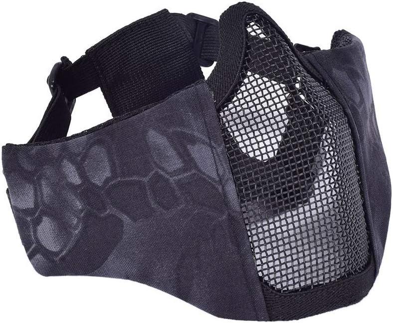 WLXW Máscara de Media Cara Táctica, Máscara de Malla de Protección Facial de Pistola de Aire de Paintball, con Banda Elástica Ajustable, Equipo de Protección de Caza, CS Vivo