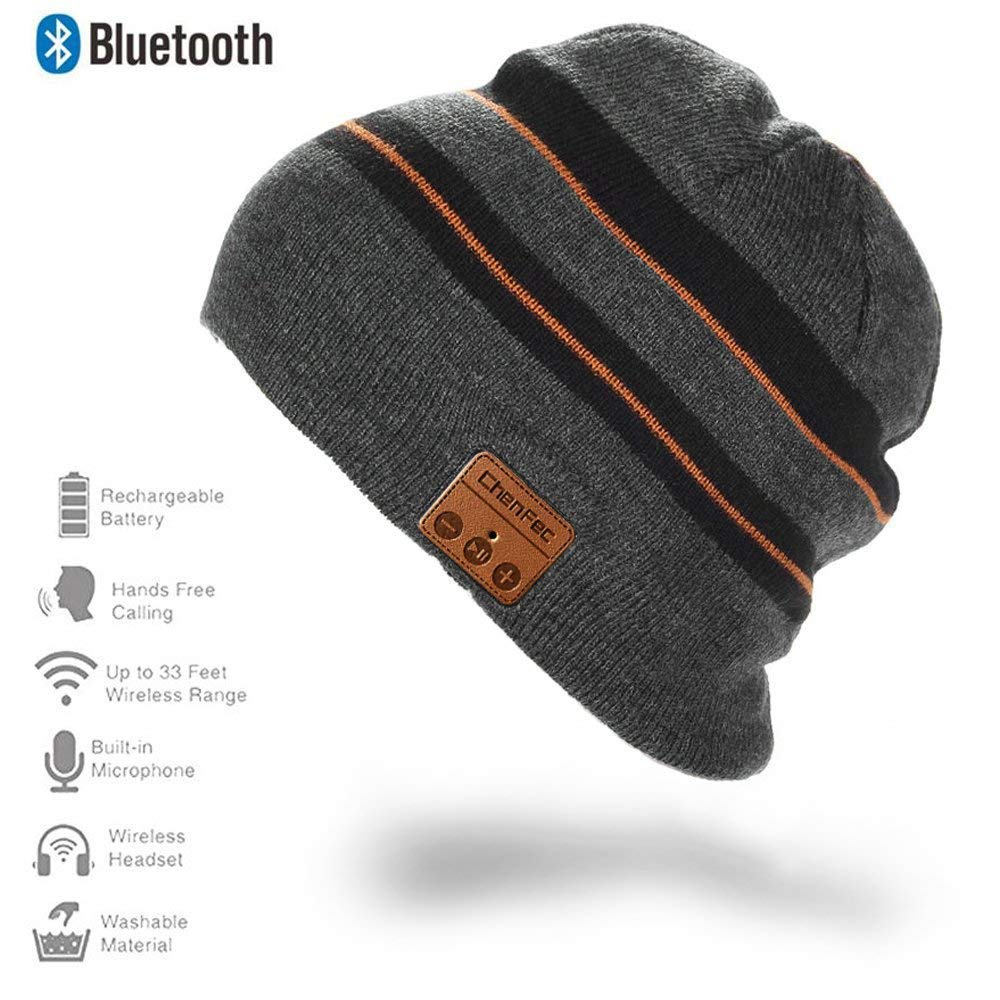 BioRing, Winter Beanie Hat with Bluetooth Headphones Earphones Speaker Built-in Mic Gray-Strip