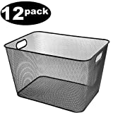Ybmhome Black Mesh Open Bin Storage Basket Organizer for Fruits, Vegetables, Pantry Items Toys 2268-12 (12, 15x12x11)