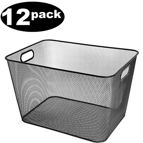 Ybmhome Black Mesh Open Bin Storage Basket Organizer for Fruits, Vegetables, Pantry Items Toys 2268-12 (12, 15x12x11) by Ybmhome