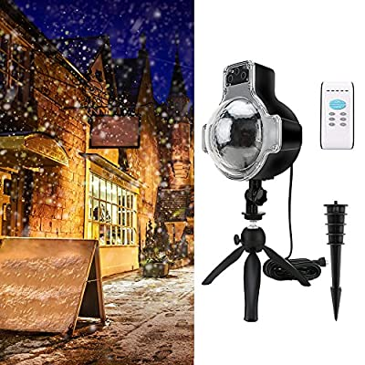 Snowfall LED Light Projector, IP65 Waterproof Rotatable Snowflake Projector Lights with Remote Controller, 32Foot Power Cable on