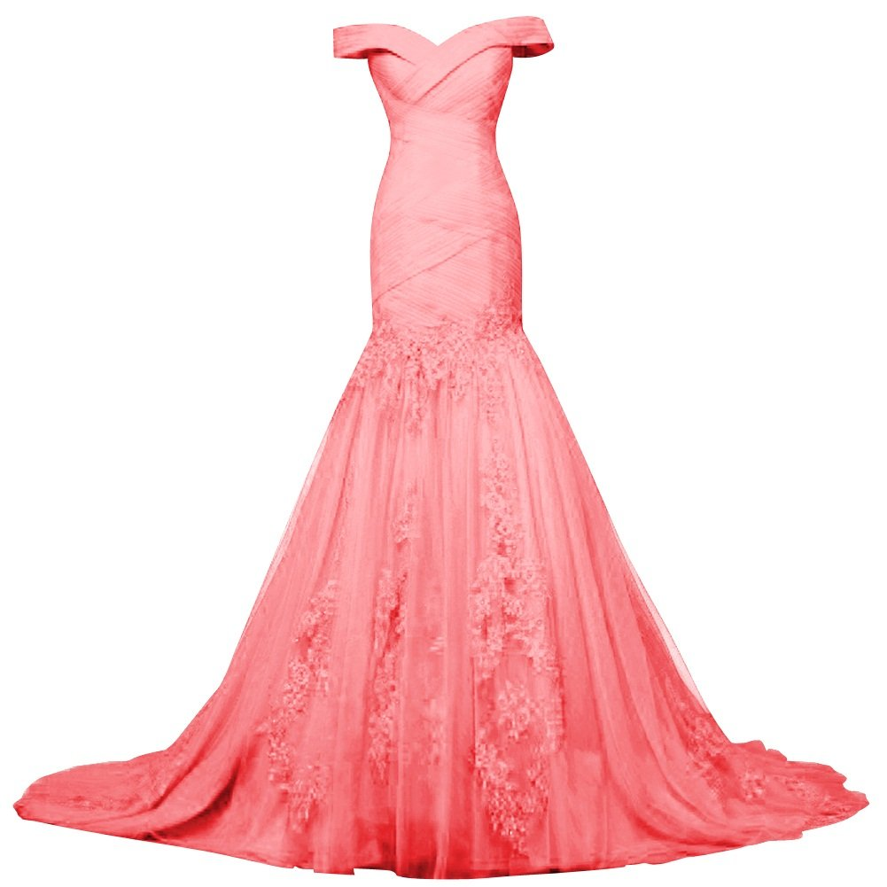 Watermelon Bess Bridal Womens Off Shoulder Lace Tulle Mermaid Prom Dresses Lace Up Evening