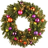 National Tree 30 Inch Kaleidoscope Wreath with 70 Battery Operated Warm White LED Lights (KS3-300L-30WB)