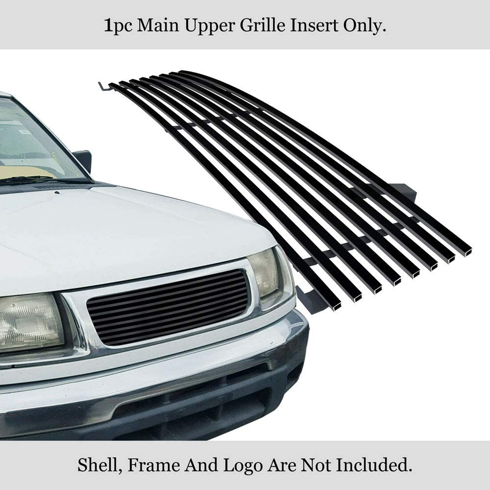 Grille Assembly Compatible with 1998-2000 Nissan Frontier Chrome Shell//Black Insert