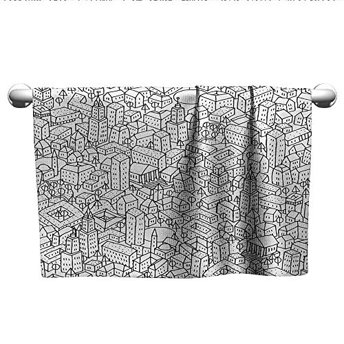 Doodle,Hand Towels Crowded Urban Life Depiction in a Simple Black and White Drawing Big Buildings Dry Fast Towel Black White W 35