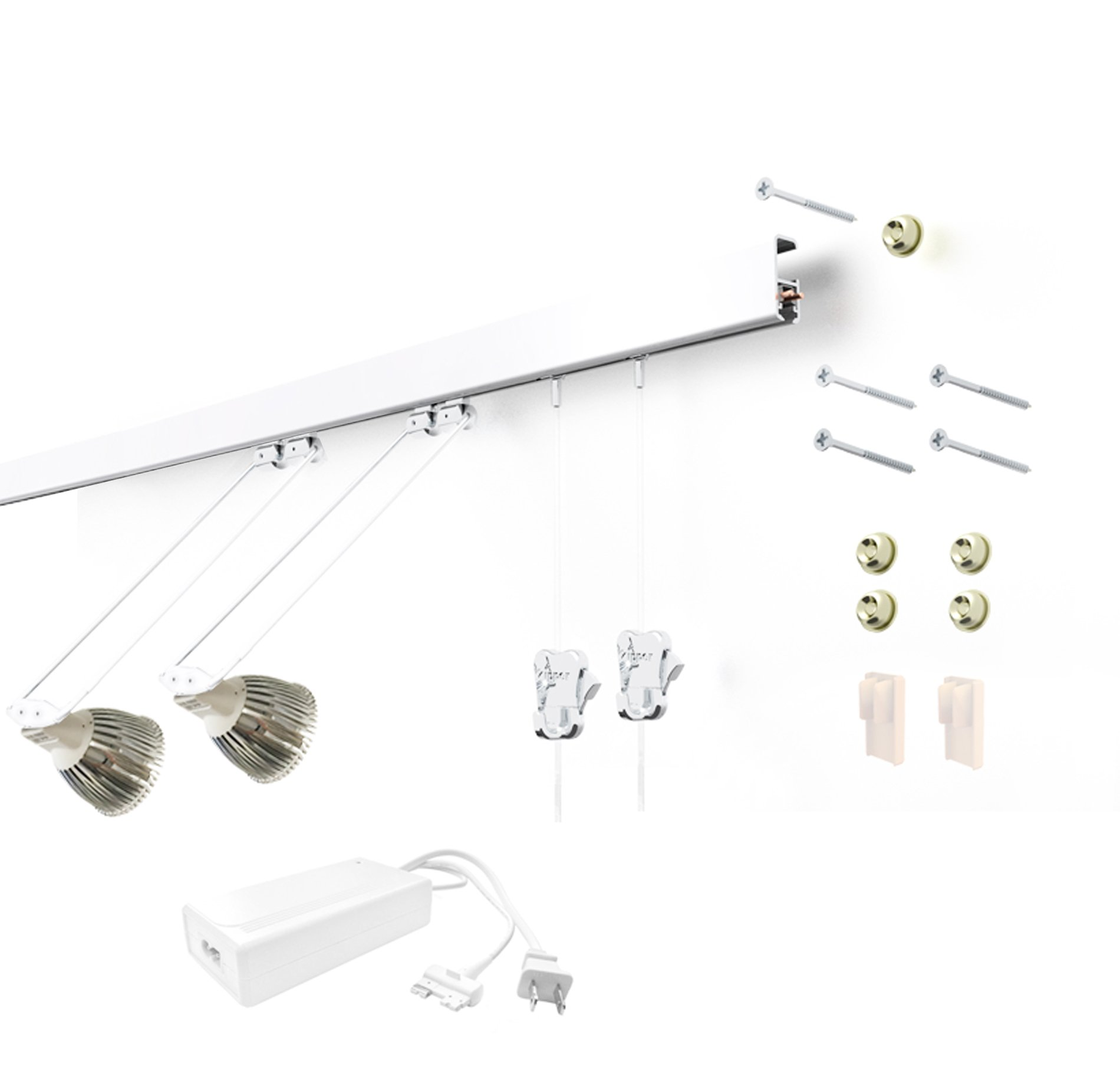 STAS Multirail Picture Hanging System- Complete Kit with 2 Hanging and LED Lighting Components (White)