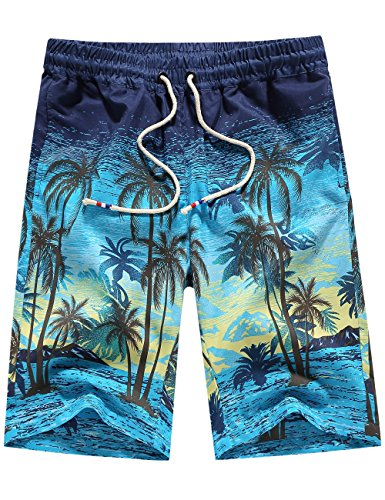SSLR Men's Tropical Quick Dry Beach Shorts Casual Hawaiian Aloha Board Shorts (XX-Large, Blue)