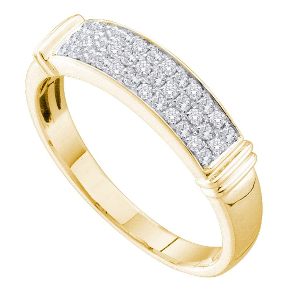 14kt Yellow Gold Womens Round Diamond Triple Row Band Ring 1/4 Cttw