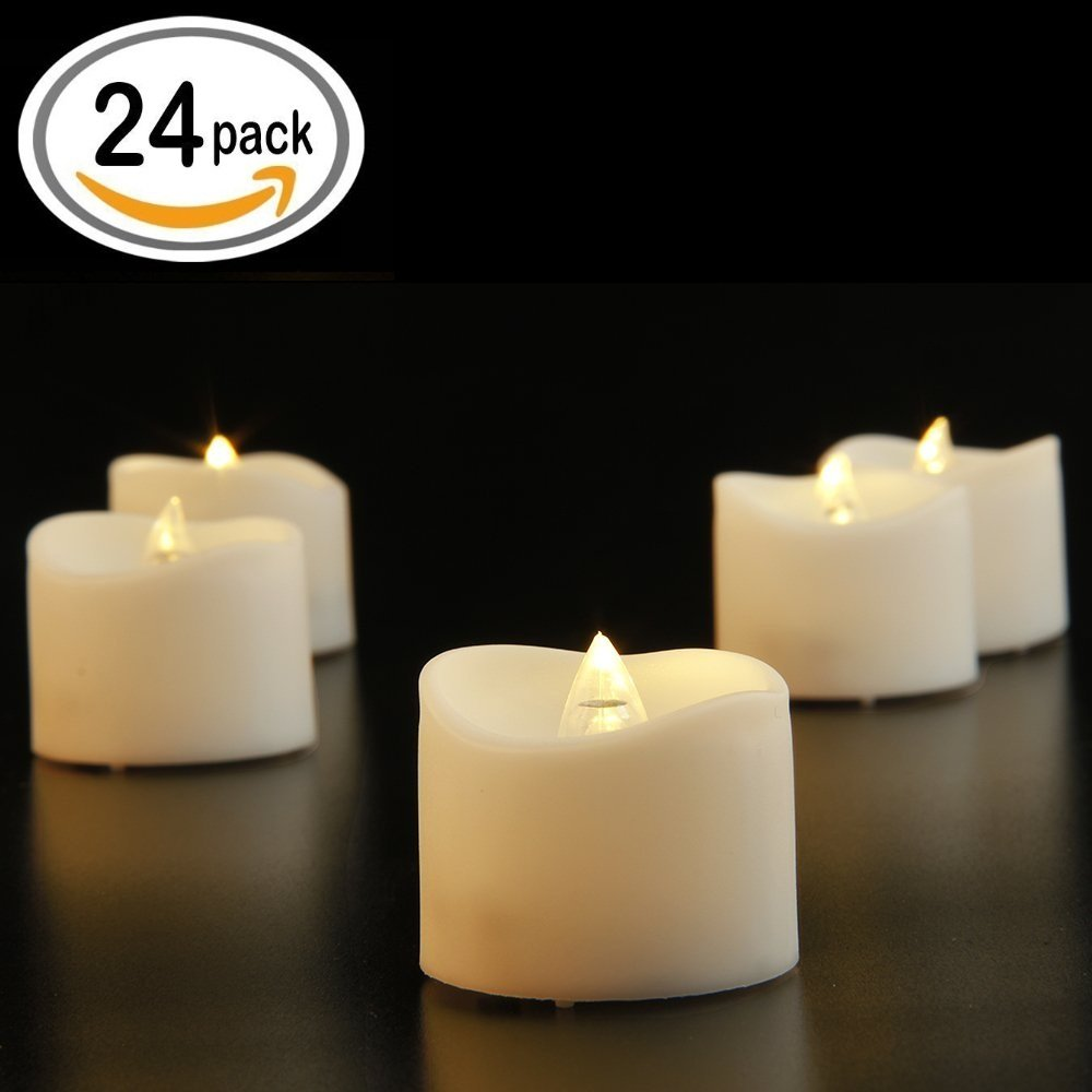 24 Pcs Flameless Led Tealights Electric Bulb Battery Operated Realistic and Bright Flickering Fake Candles for Seasonal & Festival Celebration,Warm White and Wave Open ZHIWI