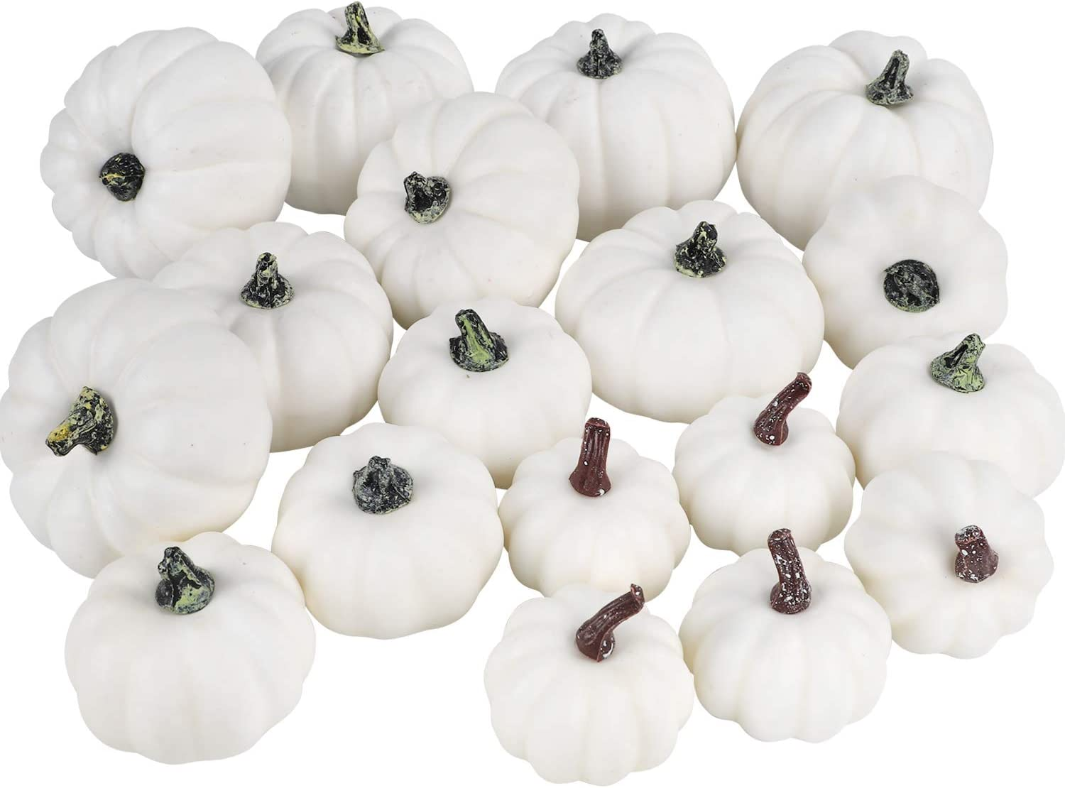 COCOBOO 18pcs Assorted Sizes Artificial White Pumpkins Set for Halloween Thanksgiving Autumn Party Decoration