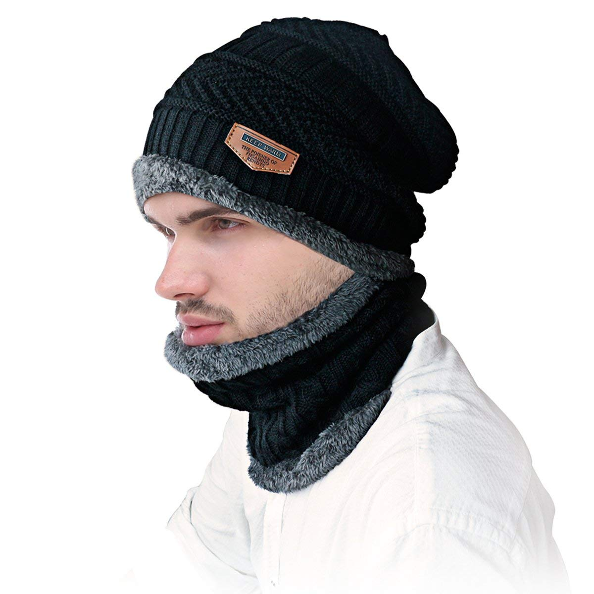 JUSTIME Warm Knitted Hat and Circle Scarf Skiing Hat Outdoor Sports Hat Sets (Black Hat+Scarf)