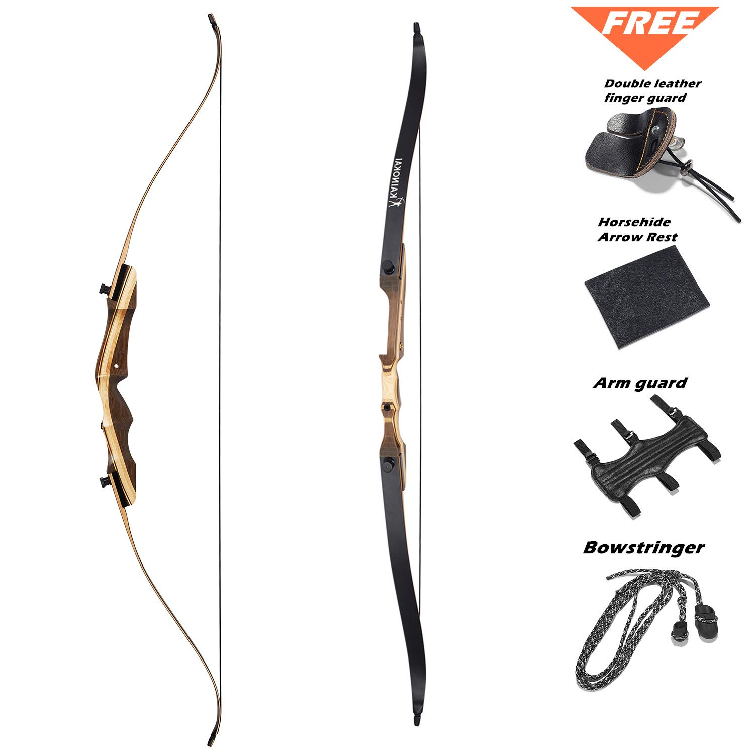 KAINOKAI 62'' Takedown Recurve Bow,Right & Left Hand,Hunting Recurve Archery Bow for Teens and Adults,15-60 lbs (Left Hand, 20lb) by KAINOKAI