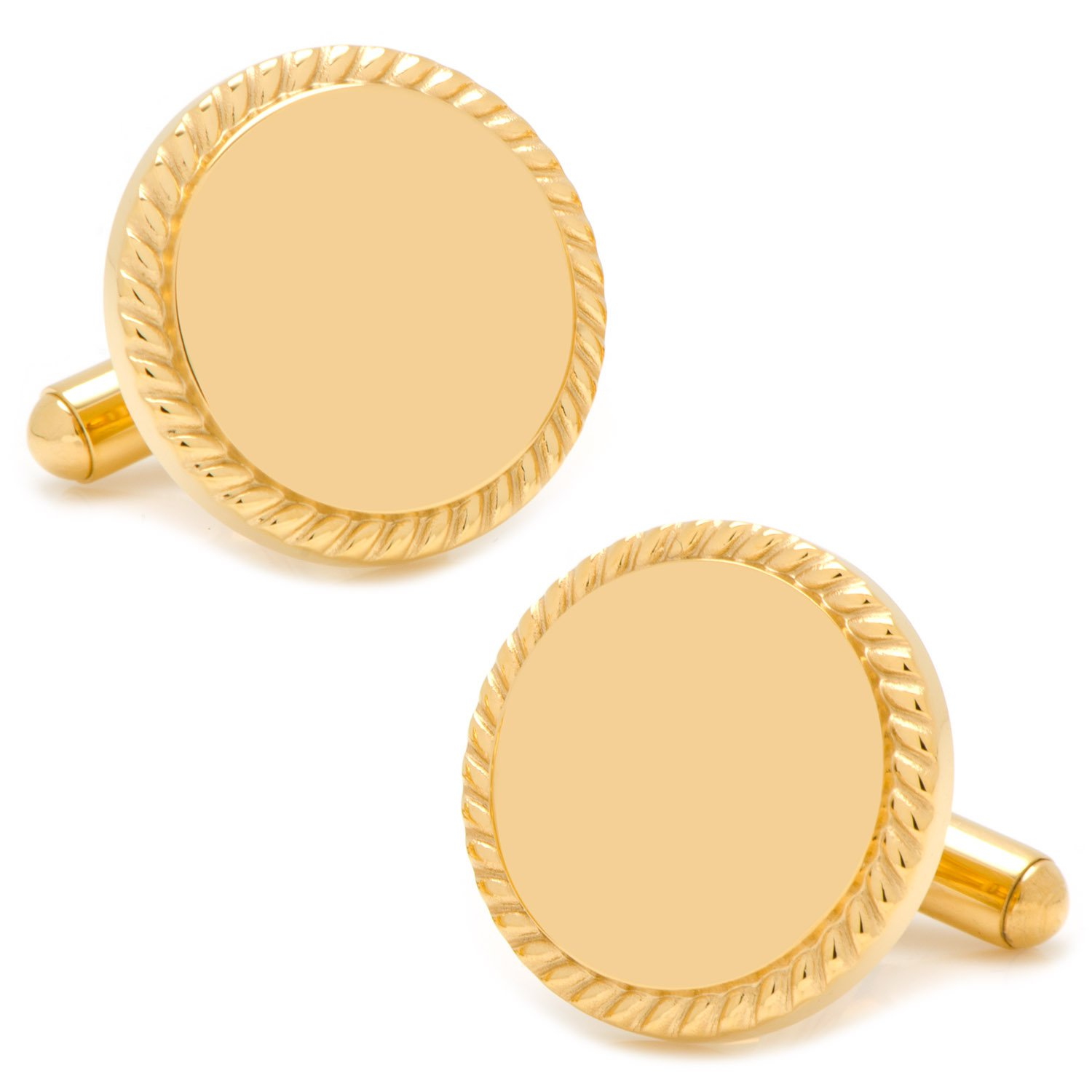 14K Gold Plated Rope Border Engravable Cufflinks