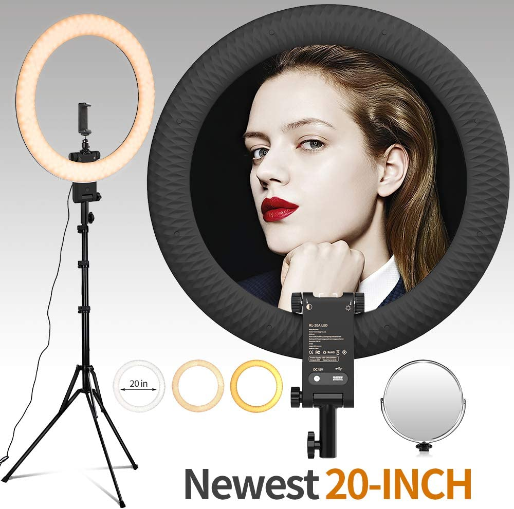 Travor 2020 New 20inch LED Ring Light with Upgrade Light Stand Kit, Slim 60W Bi-Color Light Ring with USB Charging Port for YouTube Makeup, Live Broadcast, Facebook Live, Blogging Video Shooting