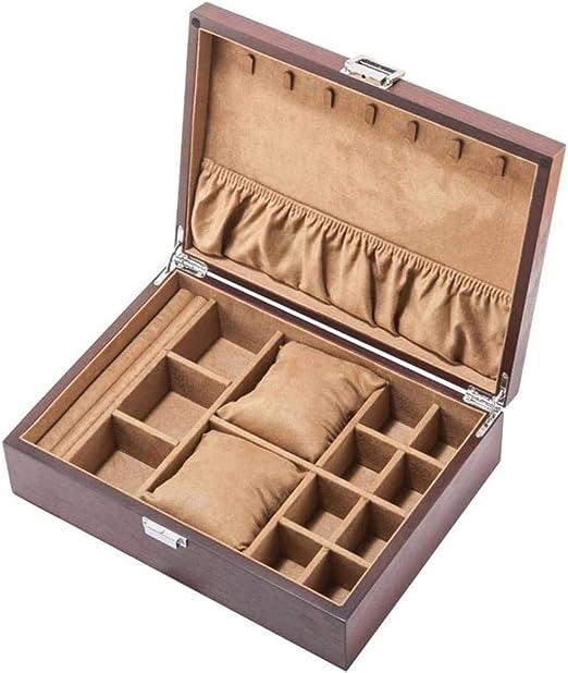 WJDOZ - Caja organizadora de joyas de madera personalizada para ...