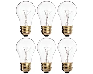 (Pack of 6) 60A15/CL - 60-Watt A15 Incandescent Oven Bulb - Appliance Bulb - Clear Finish - Medium (E26)