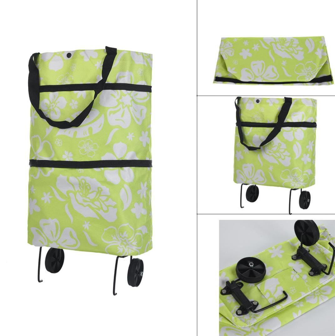 Diadia Wheel Shopping Bags Luggage Storage Package Folding Stretching Supermarket Carrier Reusable Grocery Bag Grocery Tote Bag Household Accessories (Light Green)