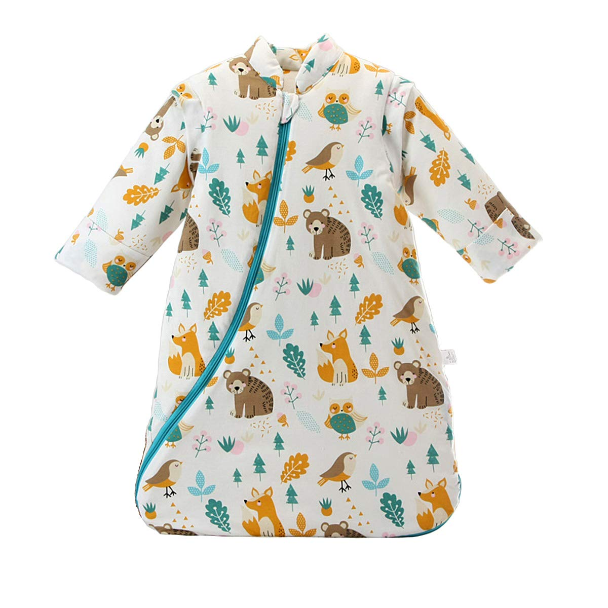 Baby Winter Sleeping Bag Kids Sleeping Bag 3.5 Tog Organic Cotton Sleeping Bag Various Sizes from Birth to 4 Years Old (S/0-5 Months, Animal World) MIKAFEN