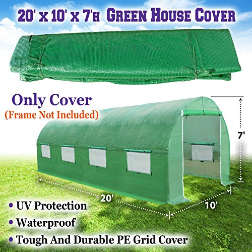 BenefitUSA Green House Replacement Spare Parts for 20'X10'X7'H Walk In Outdoor Plant Gardening Greenhouse (Cover) by BenefitUSA