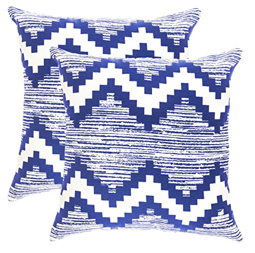 TreeWool Decorative Square Throw Pillow Covers Set Ikat Chevron Accent 100% Cotton Cushion Cases Pillowcases (18 x 18 Inches / 45 x 45 cm; Navy Blue & White) - Pack of 2