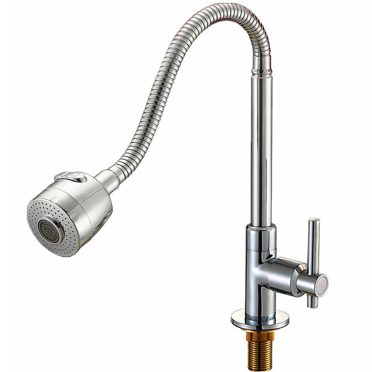 Kitchen Sink Faucet 360 °Rotation Solid Brass Tap Copper Polished Chrome Single Handle Sprayer For Cold Water (Sliver)