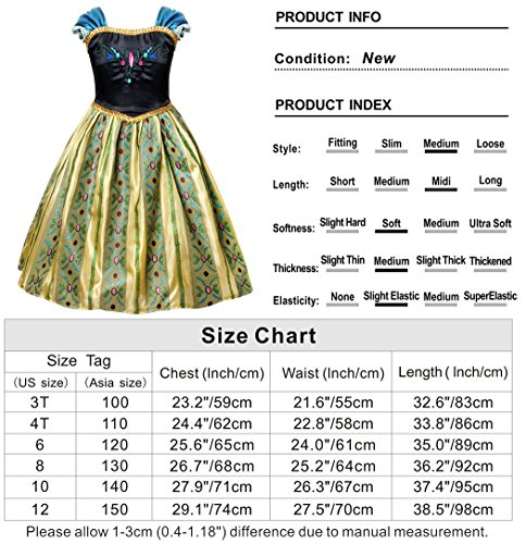 Cotrio Little Girls Anna Coronation Dress Princess Anna Costume Dress up Halloween Cosplay Party Fancy Dresses Size 4T (110, Green 02) by Cotrio (Image #7)