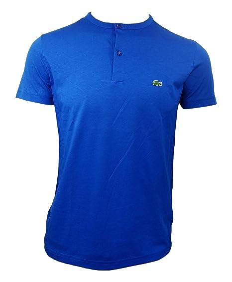 873ff453 Lacoste Men's Short Sleeve Henley Jersey Pima Regular Fit T-Shirt