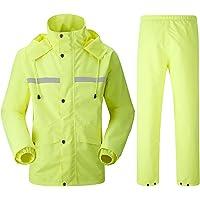 Insun Erwachsenen Wasserdichten Anzug mit Reflexstreifen Regenjacke mit Kapuze und Regenhose für Damen und Herren