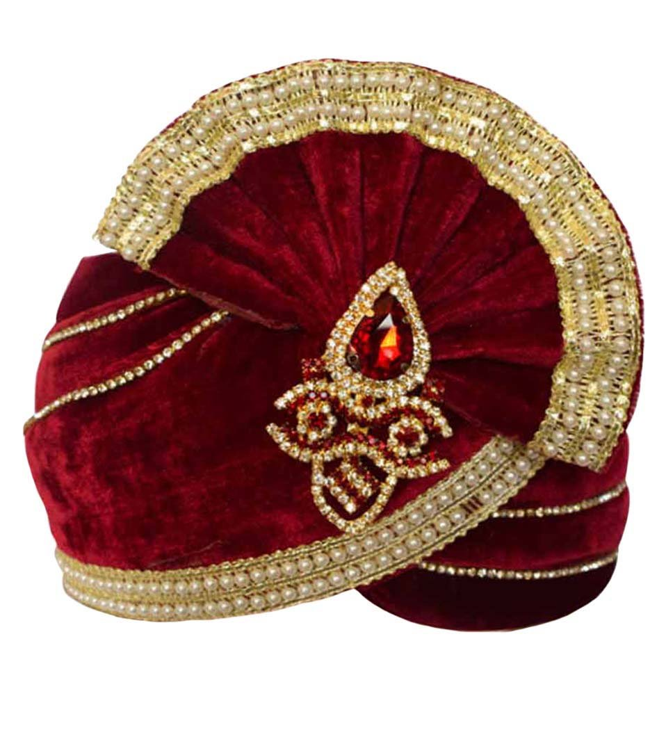 INMONARCH Mens Groom's Wedding Turban Pagari Safa Groom Hats TU1097 22H-inch Red by INMONARCH