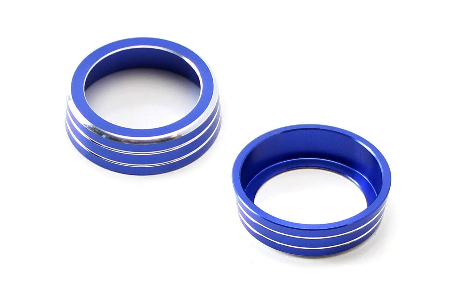 iJDMTOY 2pcs Blue Anodized Aluminum AC Climate Control Ring Knob Covers For 2016-up 10th Gen Honda Civic by iJDMTOY