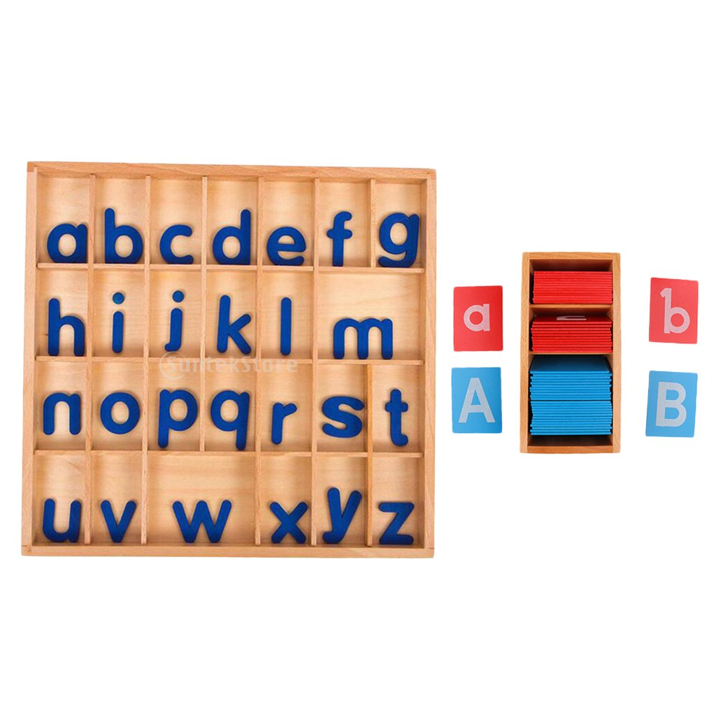 Blesiya Kids Intelligence Developing Az Movable Letter Box+Sand Alphabet Cards Gift
